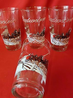 Set 4 BUDWEISER Clydesdale Horses 2000 Edition Collectible Beer Bar Glasses