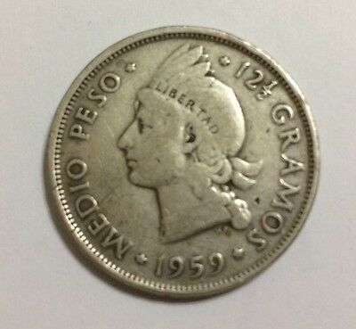 Dominican Republic 1959 1/2 Peso Silver Very Scarce