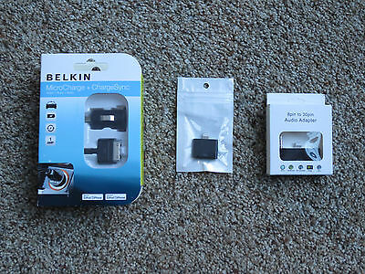 Belkin Auto MicroCharge+ChargeSync Cable for iPhone 3/4 + adapters for iPhone 5