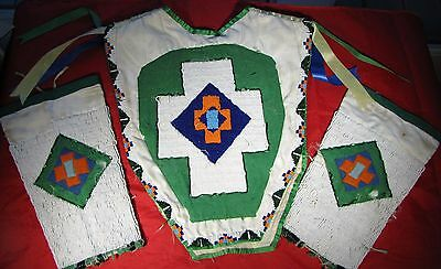 Native American Indian Shoshone Beaded Child's Dance Outfit w Cones-Sinew Sewn