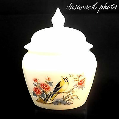 Vintage Avon Ii Gold Finch Vase W/ Lid White Glass Songbird Apprx 4.5 X 5 In.