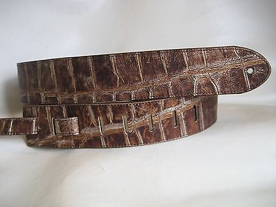 Genuine Leather Bronze Croc Emboss Body Bass, Acoustic Guitar Strap