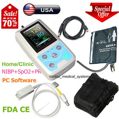 FDA CONTEC PM50 Portable Vital Signs Patient Monitor NIBP/SpO2/Pr,PC Software,US