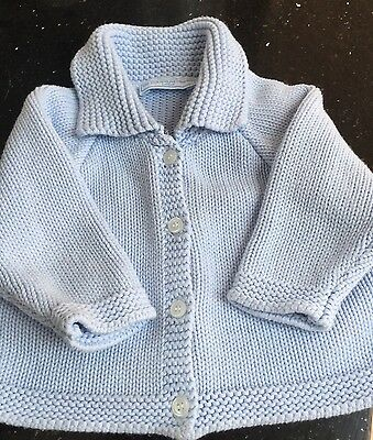 The Little White Company Girls Blue Cardigan Age 6-12Months