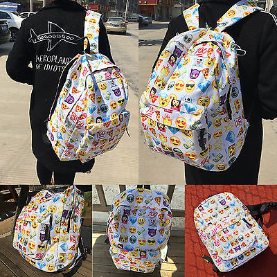 Boys Girls Smiley Emoji Shoulder School Bag Satchel Backpack Travel Rucksack