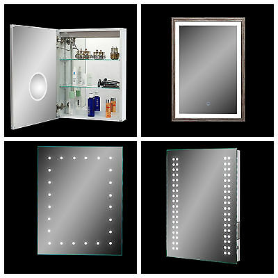 LED Illuminated Bathroom Mirror Demister Sensor Shaver Socket Bluetooth IP44