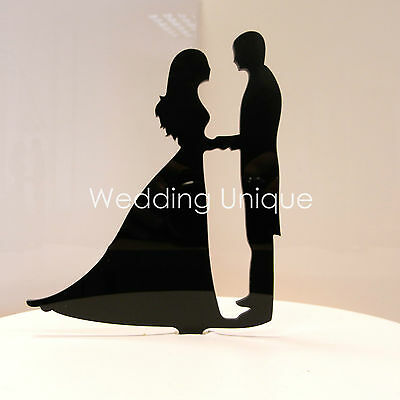 Wedding Cake topper Bride and Groom silhouette acrylic figurine proposal  topper