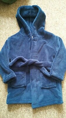Cosy navy boys 12-18 mth dressing gown soft to touch