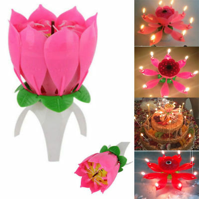 Creative Birthday Candles Music Lotus Flower Blossom Magic Cake Topper Candle D8
