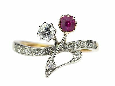Jugendstil 950 Platin 585 Gelb Gold 0,40 ct Diamant 0,15 ct Rubin Damen Ring