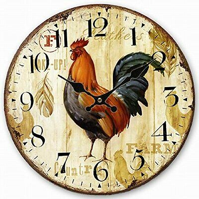 Retro Vintage Rooster Chicken Wood Wall Clock Country Farmhouse Kitchen Decor