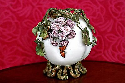 Antique Very Rare French Hand-Painted Barbotine Majolica Vase, 19th Century