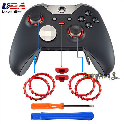 Matte Chrome Red Buttons Circle Rings Repair Parts for Xbox One Elite Controller