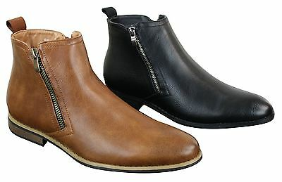 Mens Smart Casual Chelsea Dealer Ankle Boots Leather Tan Brown Black Slip On Zip