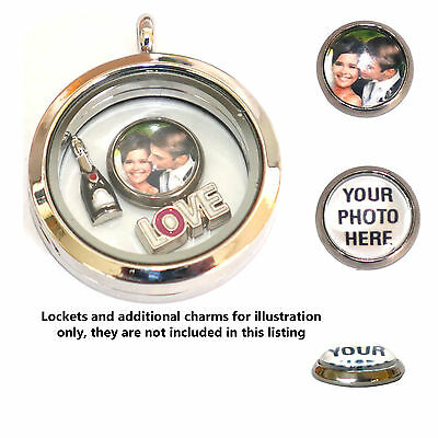 PERSONALISED photo charm for living memory and floating charm lockets - 2 sizes