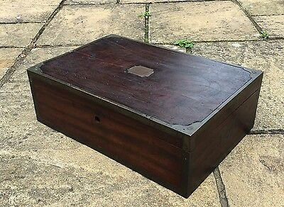 Lovely Late 18th Century Wooden And Brass Box Missing Lock 1.5ft x 1ft x 0.5ft