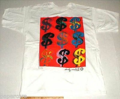 Andy Warhol New 1996 dollar signs $$ money XL t-shirt original stock Made in USA