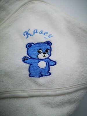 personalised BLUE BEAR  Beautiful Embroidered Baby Hooded Towel - Bath Robe