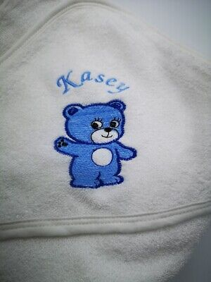 personalised BLUE /PINK BEAR  Beautiful Embroidered Baby Hooded Towel