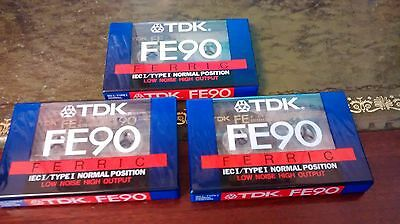 3 X SEALED TDK FE90 FERRIC  Blank Audio Cassettes Tapes NEW & SEALED FREEPOST