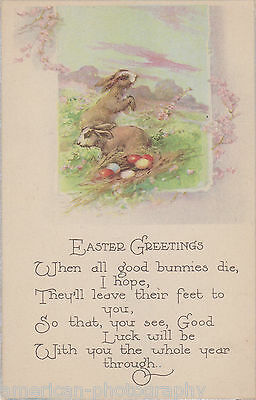 EASTER GREETINGS - Early 1900s * Good Luck Bunnies * Art Nouveau Backside Design