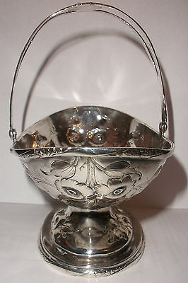 Antique American Coin Silver Chased Basket Dated 1857