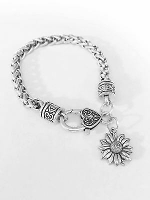 Daisy Sunflower Flower Charm Bracelet Best Friend Sister Friendship Mom Gift