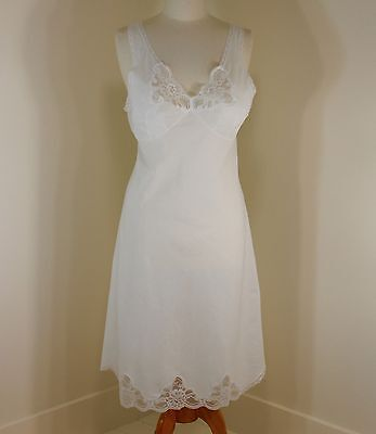 Size 36 Full Slip White Cotton Batiste Velrose 4534 Lace Nightgown Lounge Sleep