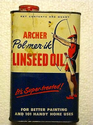 Vintage Tin 1950 Archer Pol-Mer-Ik Linseed Oil Can Archer-Daniels-Midland Co.