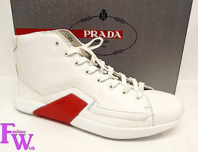 New Men's PRADA Size 12 White High Top Leather Sneakers Shoes