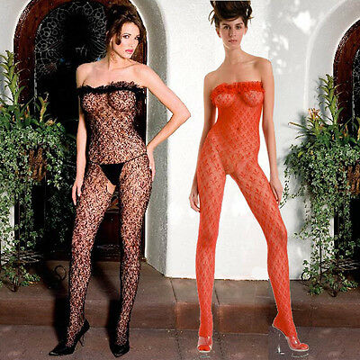 Black or Red Bodystocking Lingerie with Ruffle Trim One Size Regular  ML1461