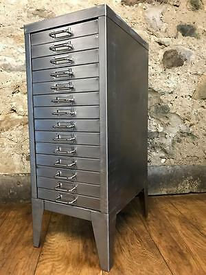 Vintage Industrial Stripped Metal 14 Drawer Filing Cabinet A4 Size