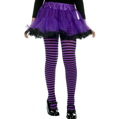 Girls Halloween Opaque Nylon Striped Tights  ML270