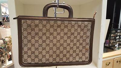 Vintage Gucci Tan & Brown Signature Attache Portfolio..perfect for tablet os