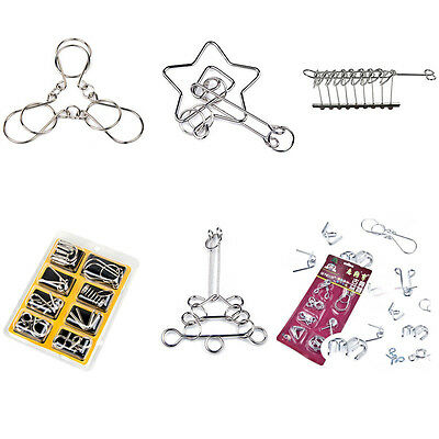 6 Styles Brain Teaser Metal Wire Puzzle Ring IQ Test Mind Game Child Trick JX