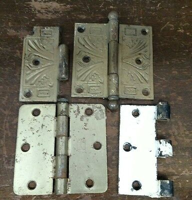 Mixed Lot of Vintage Door Hinges Ball Tip Brass Plated Ornate Design