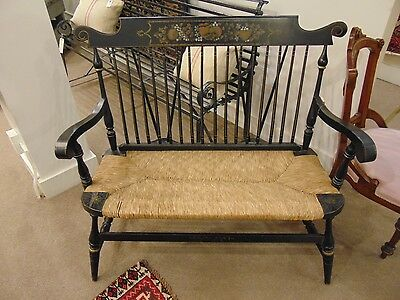 Vintage Hitchcock style Settee/Bench with Rush Seat