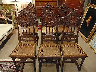 Set of 6 Carved Antique Figural Chairs