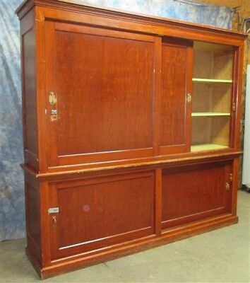 8' Country Hardware Store Display Case Cabinet Wood Showcase Back Bar Counter