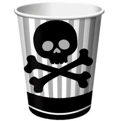 Pirate Party 9 oz Hot/Cold Paper Cups 8 Pack Skull Birthday Party
