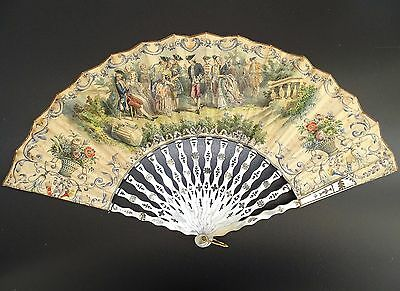 ANTIQUE 1800's VICTORIAN FINE CARVED MOTHER OF PEARL & SILVER LADIES HAND FAN