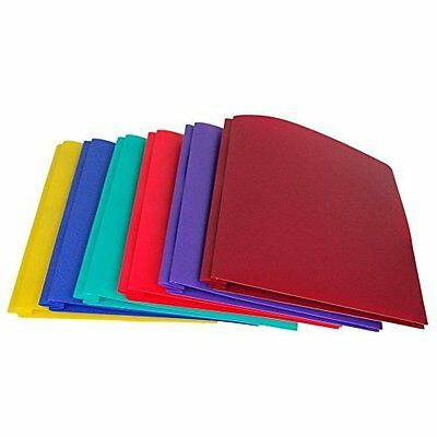 Lightahead LA-E293B Two Pocket Poly File Portfolio Folder with 3 Prongs Fa..