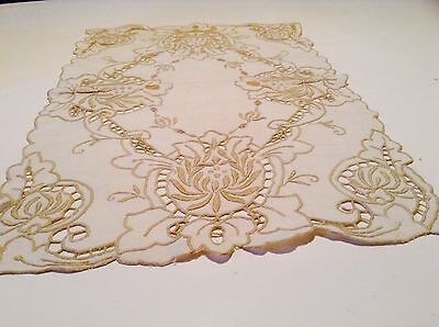 Four Vintage Madeira Work Heavy Hand Embroidered Table Mats