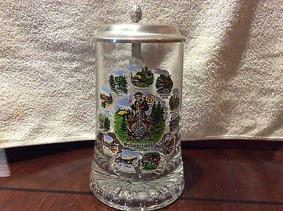German Schwarzwald Clear Glass Stein With Pewter Lid Free Shipping