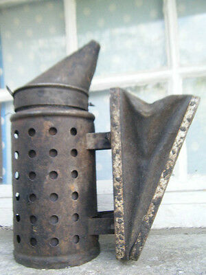 Rustic Bee smoker old vintage authentic metal wood & leather - nice display /use