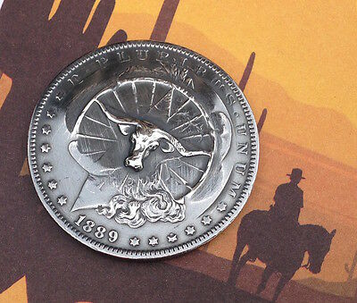 1889 Morgan Silver Dollar Repousse Coin -- Texas Longhorn - pop punched out coin