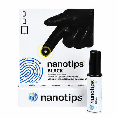 Nanotips Black Touchscreen Solution for Leather Rubber Gortex Gloves (OPEN BOX)