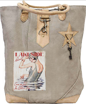 Lakeside Resort Recycled Canvas Leather Knitting Shoulder Retro Tote Bag