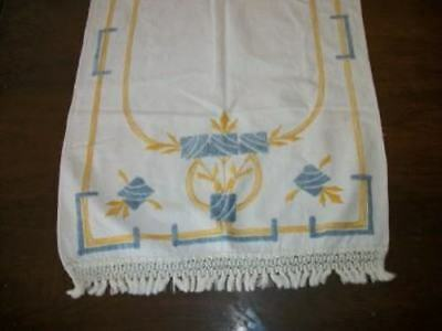 True Arts & Crafts Art Deco Embroidered Fringed Runner Shabby Chic Antique