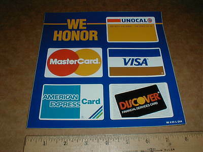 Union 76 Unocal Gas station Credit card decal Sticker American Express Visa MC